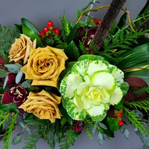 Large Thanksgiving Centerpiece in shades of Caramel, Green, Burgundy and Red
